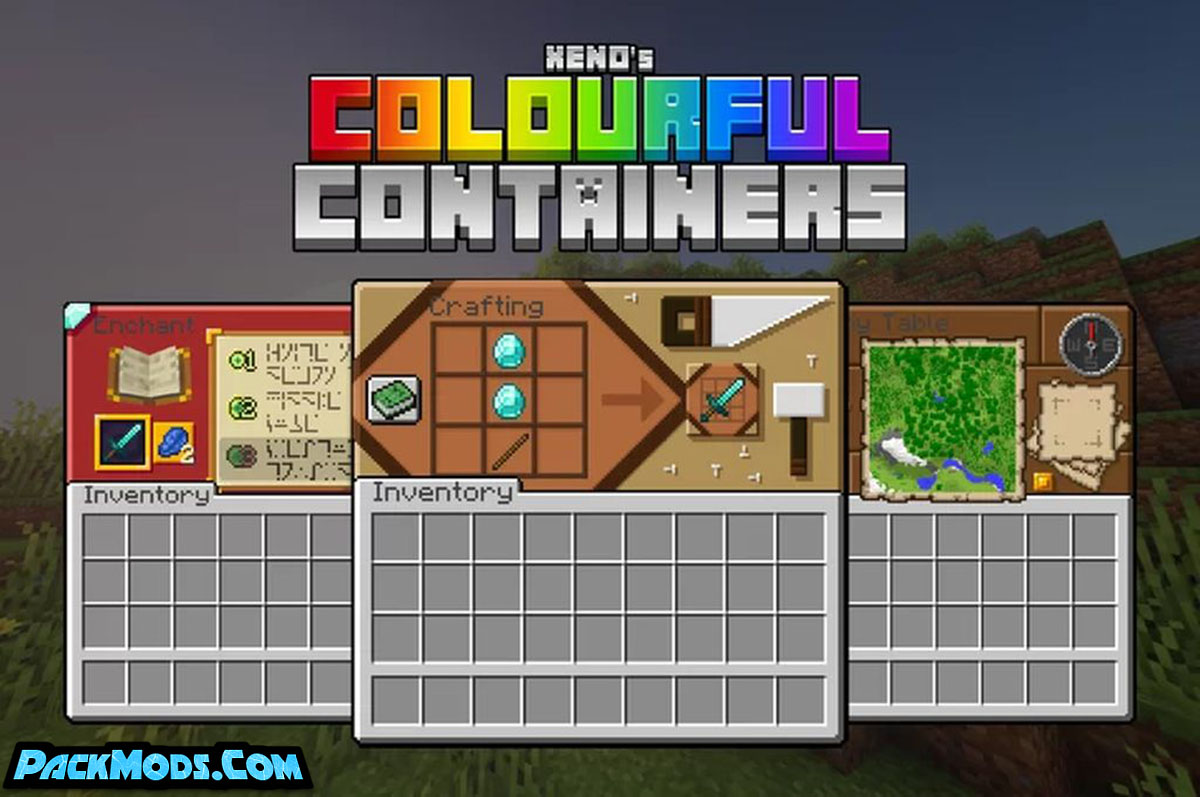 colourful containers gui resource pack - Colourful Containers GUI 1.17/1.16.5 Resource Pack 1.15.2/1.14.4/1.13.2 (16x)